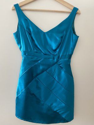 Robe courte bleu pétrole-bleu cadet