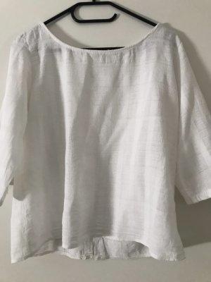 Cropped shirt wit Katoen
