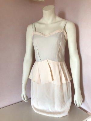 Kurzes beiges Kleid mit rosafarbenen Schößchen von H&M Trend