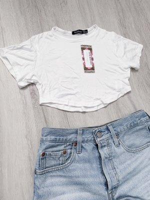 Bohoo T-shirt court blanc