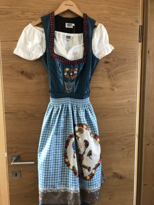 Country Line Dirndl white-petrol