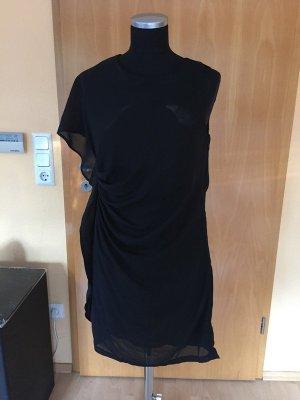 Kurzes, gerafftes Kleid, H&M, schwarz, asymmetrisch geschnitten, Gr. 38, NEU mit Etikett!