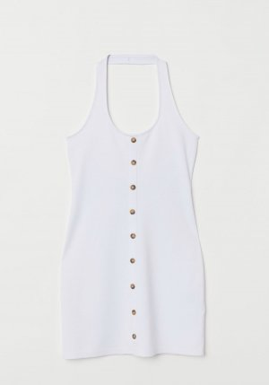 H&M Halter Dress white viscose