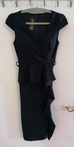 Sukienka z baskinką ciemnoniebieski