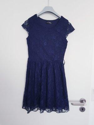 Robe à manches courtes bleu-bleu foncé polyester