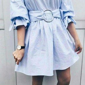 Zara Sukienka z rękawem balonowym błękitny