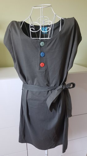 Kurzes Kleid in Khaki mit Bunten Knöpfen Gr. 40