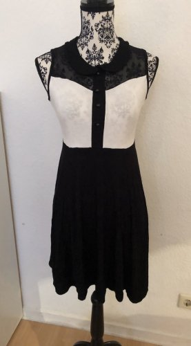 Bodyflirt Vestido babydoll negro-blanco