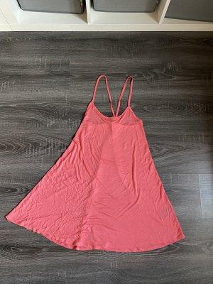 Kurzes Kleid Lachs rosa pink Spagettiträger überkreuzt Sommer Basic neu minikleid