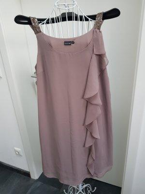 kurzes Kleid mir Volant in taupe
