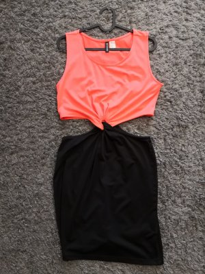 H&M Divided Cut out jurk zwart-neonoranje