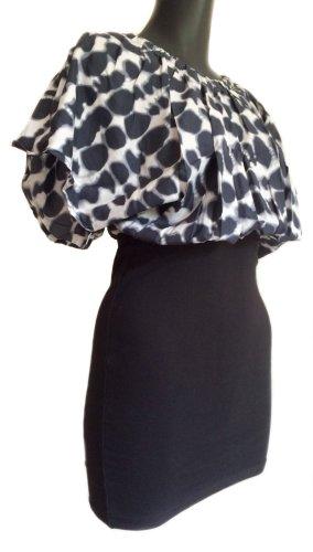 Modström Mini vestido negro-blanco Seda