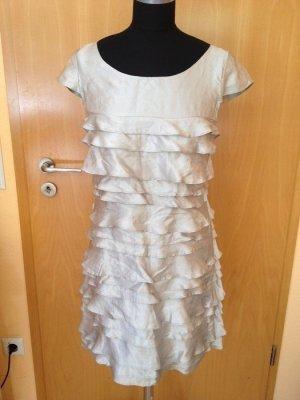 Kurzes Kleid mit Rüschen, French Connection, silber, 100% Seide