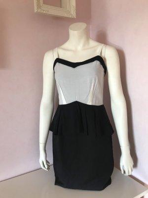 Kurzes Kleid mit Schößchen von H&M Trend - schwarz & beige