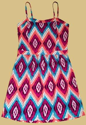 kurzes Kleid mit verstellbare Spagetti-Träger und Printmuster, Gummizug am Rücken