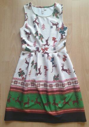 Kurzes Kleid mit Weihnachtsmotiv