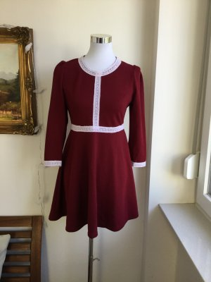Babydoll Dress bordeaux-white