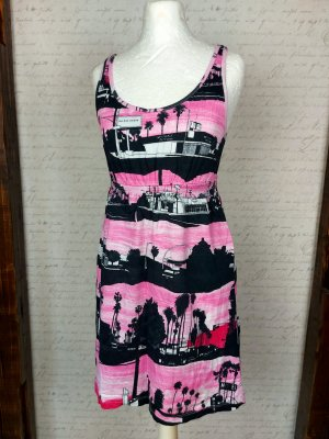 Kurzes Kleid neon pink schwarz skyline New York Gr. 36 Sommerkleid Shirt