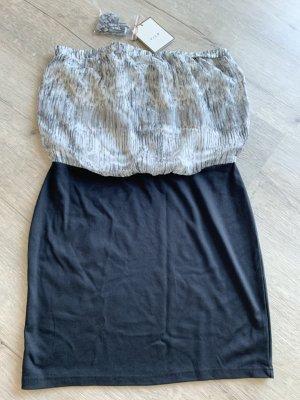 Vila Clothes Sukienka z dekoltem typu bandeau czarny-szary