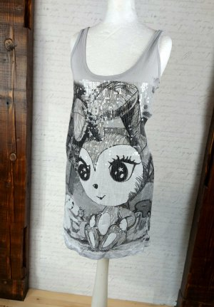Kurzes Kleid oder Longshirt grau mit Pailletten comic cosplay Gr. S