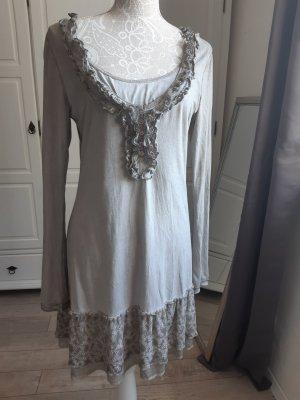 Kurzes Kleid /Tunika von Nile mit hübschen Rüschen, grau-grau/grün, 38