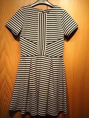 Kurzes Kleid von Warehouse, ungetragen, schwarz-crèmefarben gestreift