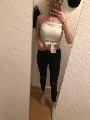 Top sin hombros blanco