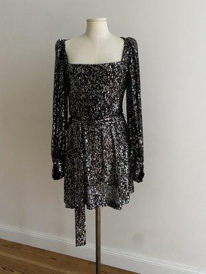 Zara Sequin Dress black-silver-colored