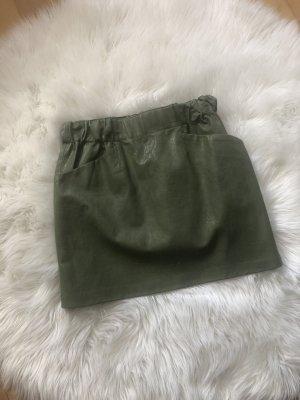 Zara Faux Leather Skirt khaki