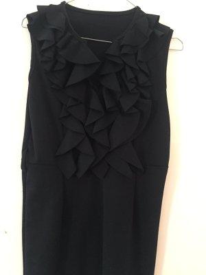 Kurzes schwarzes Kleid mit Rüschenrevers, Größe 38