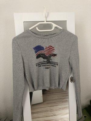 Bershka Cropped Top light grey