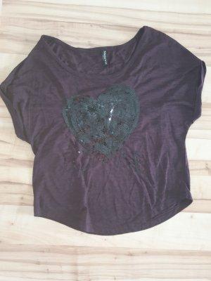 Madonna Siateczkowa koszulka bordo-ciemny fiolet