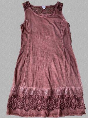 Alba Moda Vestido de encaje marrón claro Algodón