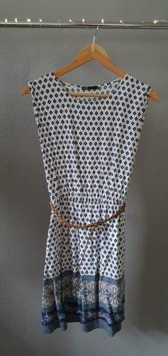 kurzes Sommerkleid Freizeitkleid Viskose weiß Muster Print Seitentaschen