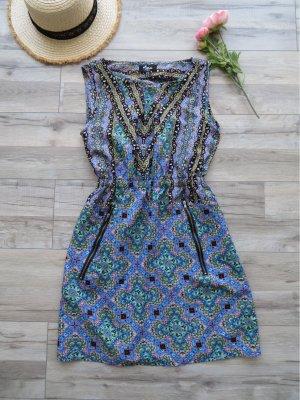 Kurzes Sommerkleid Gr. 36 bunt gemustert mit Taschen