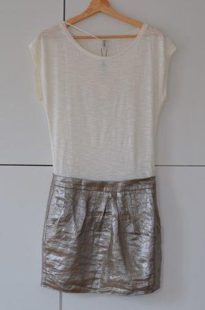 de.corp by Esprit Mini vestido blanco puro-color plata Lino