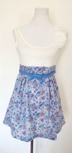 Kurzes Sommerkleid Shirt Kleid mit Blümchenprint und Gürtel Gr 38