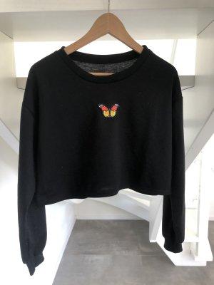 Kurzes Sweatshirt mit Stickerei
