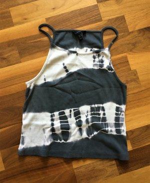 New Look Top con bretelline grigio scuro-bianco Cotone