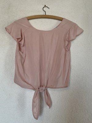 Kurzes Top / Bluse mit Rüschenärmel in rosa