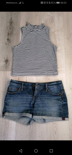 H&M Divided Camisa de cuello de tortuga blanco-azul oscuro