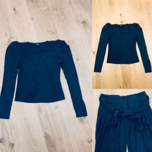 Kurzes Top/ Shirt  Puffärmel langarm grau v Swing Vintage Gr. 34-36/XS-S