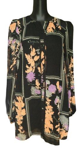 Kurzes weites Blusenkleid mit floralen Print