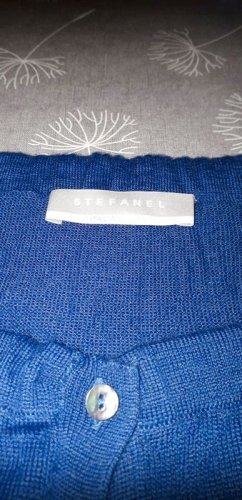 Stefanel Cárdigan de manga corta azul acero