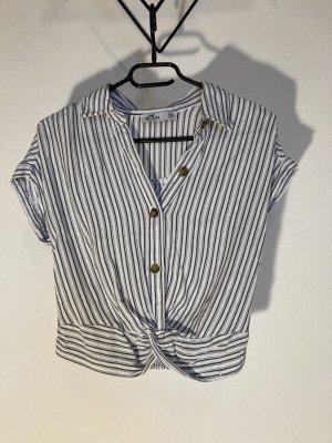 Kurzgeschnittene Bluse mit Knotendetail