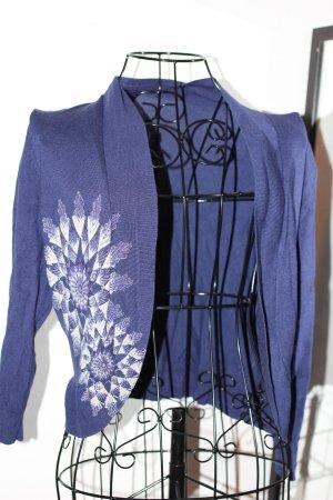 Kurzjacke Cardigan blau mit Schmucksteinen