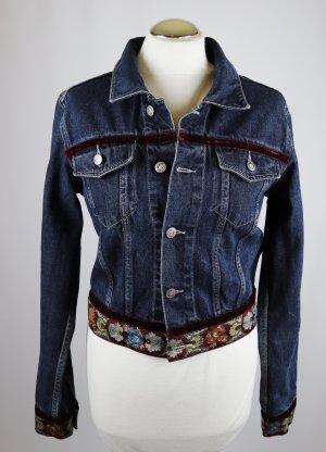 Kurzjacke Folklore Jeans Jacke Fishbone Größe S 36 Samt Blau Dark Blue Crop Borte Übergangsjacke