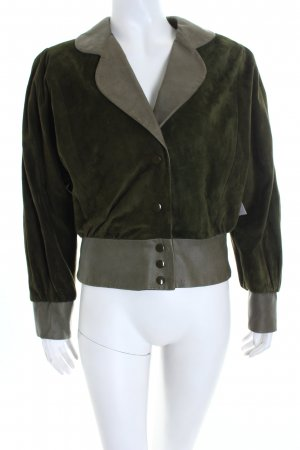 Kurzjacke waldgrün-grau Vintage-Look