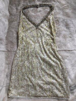 Vestido de lentejuelas color oro-color plata Nailon