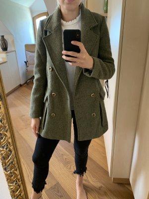 Zara Basic Korte Jas groen-grijs-khaki